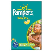 Pampers Baby Dry Size 5+ (13-27kg) Large Pack Junior Plus 2x48 per pack