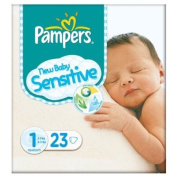 Pampers New Baby Size 1 (2-5kg) Sensitive Carry Pack Newborn 6x23 per pack