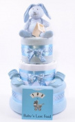 Boys blue 3 Tier deep filled luxury baby shower nappy cake Hamper gift