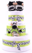3 Tier Unisex Zebra Stripes Themed Funky Lime Green Nappy Cake
