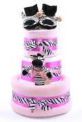 3 Tier Girls print Zebra Stripes Themed Pink Nappy Cake