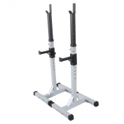 New Heavy Duty Adjustable Gym Squat Barbell Power Rack Stand Weight Bench Support For Standard and Olympic Curl Bar Maximum Weight Capacity 200kgs