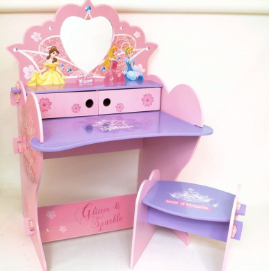 Disney Princess Wooden Vanity Desk And Stool With Mirror