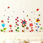 Colourful Flowers and Butterflies Premium Wall Stickers - Removable and Repositionable