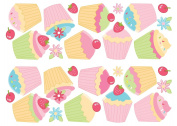 Fun4Walls Repositionable Wall Stickers, Cupcake Stickarounds