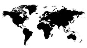 Wall World Map vinyl sticker decal mural. Any colour. 180 x 110cm. Plus 150 14mm white marker dots!