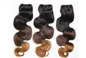 Brazilian Remy Ombre Human Hair Extensions - #1B/4/27 Mixed Lengths