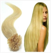 46cm 100 Strands Straight Nail Tip (U Tip) Remy Human Hair Extensions 0.5g Per Strand [Set Weight