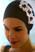 Ladies Swim Hat Swimming Hat Black With 3 White Flowers Fashy Bathing Cap Vintage Retro Style Flowers
