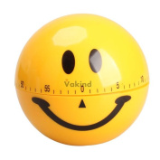 V1nf Mechanical Smiley Face Kitchen Cooking Timer Alarm 60 Minutes Yellow