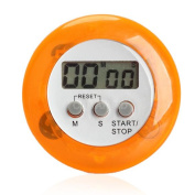 Round Magnetic Digital Kitchen Countdown Timer Alarm With Stand Orange