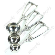 Set Of 3 Pcs Stainless Steel Ice Cream Scoop Cookie Spoon Spring Handle Kitchen Tools 4/5/6cm