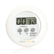 Round Magnetic Lcd Digital Kitchen Countdown Timer Alarm With Stand White
