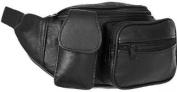 Soft Leather Travel Bumbag with Mobile Phone Pocket, Document Passport Holder, Waist Bum Bag, Black.