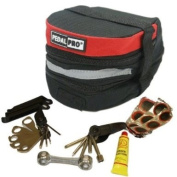 PEDALPRO BICYCLE/BIKE/CYCLE RED EXPANDABLE SADDLE/SEAT BAG WITH TOOL KIT
