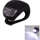 Cycle Gear Bicycle Waterproof Silicone Light Flashing Light Lamp Head Rear Light Flashlight with Double LED (2-led) (Black Silicone, White LED) Bike, Cycling, Bicycle, Bicycling