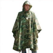 Waterproof Hooded Rain Ripstop Poncho Woodland Camo