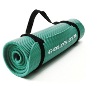 Golds Gym Ribbed Comfort Rubber Mat Green with Carry Straps
