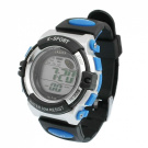 Children Black Soft Plastic Band Alarm Stopwatch Sports Watch