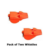 PACK OF TWO Acme Tornado Day Glo Orange Whistles-The World's Most Powerful Whistle
