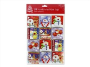 24 Adorable Self Adhesive Christmas Gift Tags/Labels in Assorted Festive 3D Character Designs.