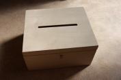 LOCKABLE PLAIN WOOD WOODEN BOX DECOUPAGE WEDDING CARDS 29 x 25 x 15 cm (P29/15)o