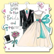Bride and Groom Wedding Suit and Dress/Wedding Day Card