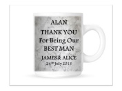 Personalised Ceramic Mug/Cup. Best Man. Complete with gift box.The Perfect Wedding Thank You Gift. Personalised details required by email.
