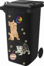 Wheelie Bin Self Adhesive Sticker Kit, Cat Design