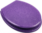 High Quality Hand Finished Purple Glitter Design Resin Toilet Seat - Universal Fittings