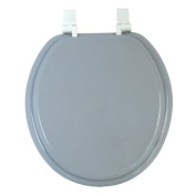 Anika 41cm Toilet Seat with White Plastic Hinges, Silver