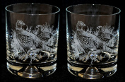Pheasant Whisky Tumbler Glass (pair) Bird Gift
