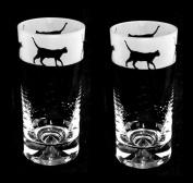 Walking Cat Tall Tumbler Highball Glasses (pair) *Cat Gift*
