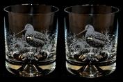 Woodcock Whisky Tumbler Glasses (pair) Bird Gift