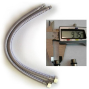 2 x 400mm Flexi Hose Pipe Tap Tails With 10mm Males For Monobloc Basin Or Kitchen Taps