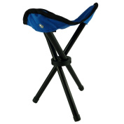 BRAND NEW BLUE FOLDING STOOL - COMPACT, COMFORTABLE AND CONVENIENT - LIGHTWEIGHT & PORTABLE - RUBBER TIPPED - NON SKID LEGS