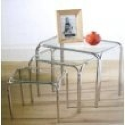 3pc nesting tables clear glass top chrome legs table best for Glass top nesting tables