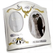 """Two Tone Silverplated Wedding Anniversary Gift Photo Frame - """"50th Golden Anniversary"""""""