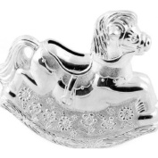 Christening Gifts. Girls Silver Rocking Horse Money Box