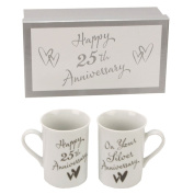 Beautiful Set of Silver Wedding 25th Anniversary mugs - Make An Ideal Gift