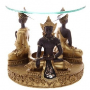 Gold & Brown Thai Buddha Oil Burner with Glass Mosaic Detail