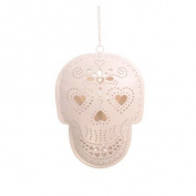 Skull Tealight Holder in Cream, Hanging.