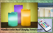 3 Piece Colour Changing Remote Control Wax Flameless Candles