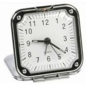 Chrome Square Fold up Travel Alarm Clock