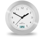 Trendworx 4044 Suction Cup Bathroom Clock with Digital Thermometer