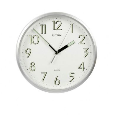 rhythm plastic silver finish silent sweep wall clock