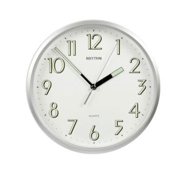 Rhythm plastic silver finish silent sweep wall clock for Glow in the dark wall clocks australia