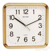 RHYTHM Square Basic Wall Clock with Silent Movement in Gold Colour 3D Numerals