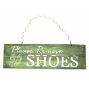 """Please Remove Shoes"" Blue Shabby Chic Wooden Sign"