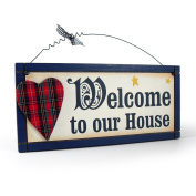 Heartwarmers Fun Wooden Welcome To Our House Scottish Sign/ Plaque